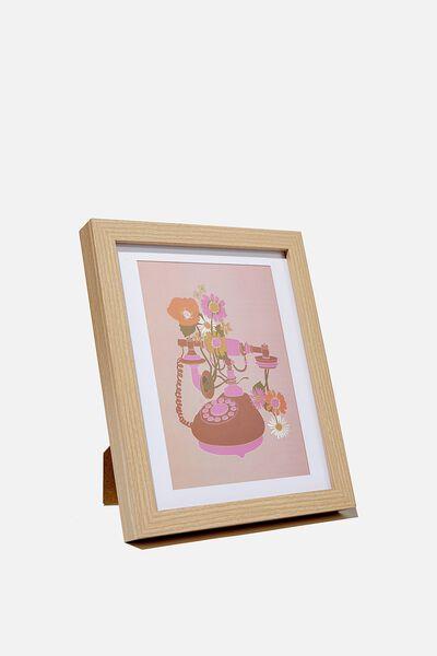 A5 Framed Print, FLORAL TELEPHONE