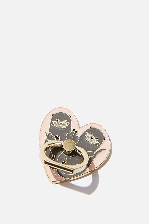 Enamel Phone Ring, OTTERS IN LOVE