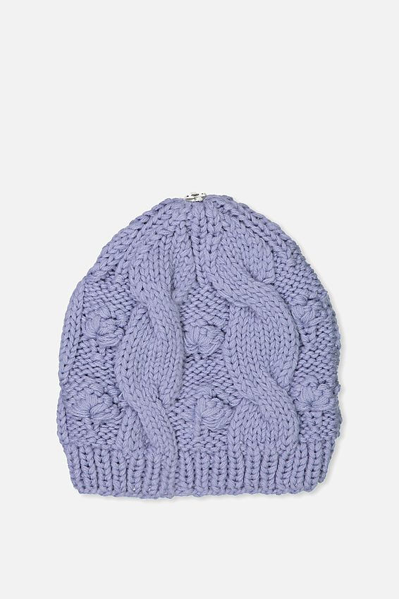 Personalised Beanie, LILAC CABLE KNIT