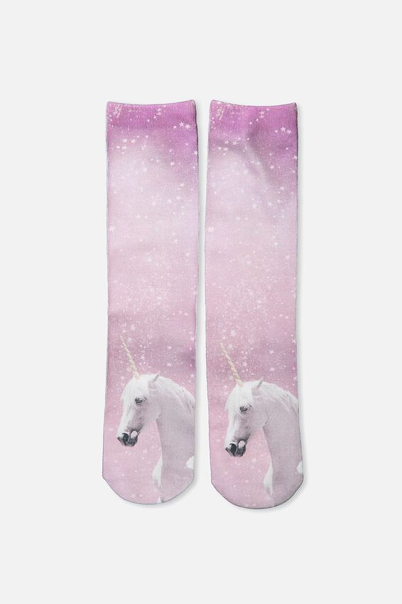 Womens Novelty Socks, DIGITAL UNICORN
