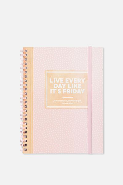 A5 Spinout Notebook - 120 Pages, LIVE EVERYDAY LIKE ITS 5PM