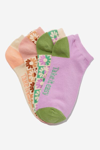 4 Pack Of Ankle Socks, TAKE IT EASY FLORAL CHECK (S/M)