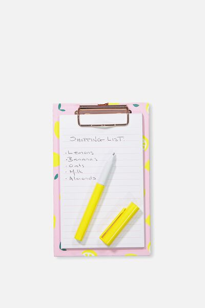 Magnetic Clipboard And Pen, PINK LEMONS