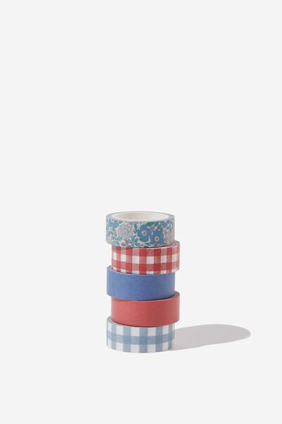 Washi Tape 5Pk, DITSY FLORAL CHRISTMAS BLUE RED