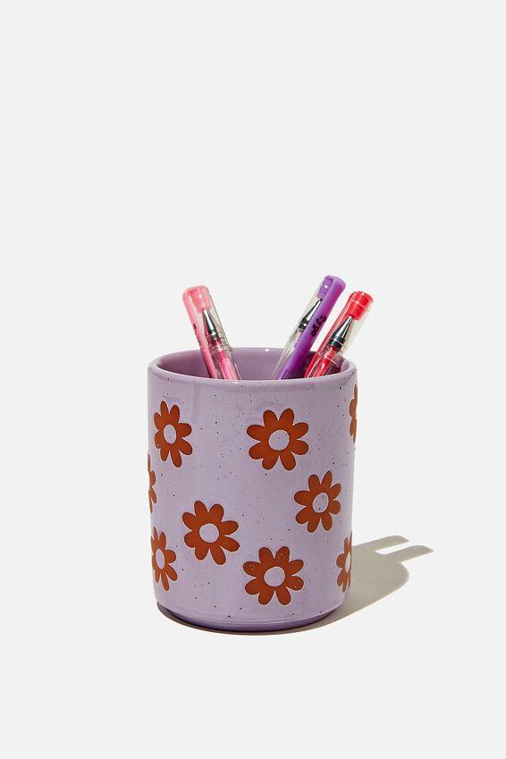Pen Holder, FLOWER DEBOSS LILAC