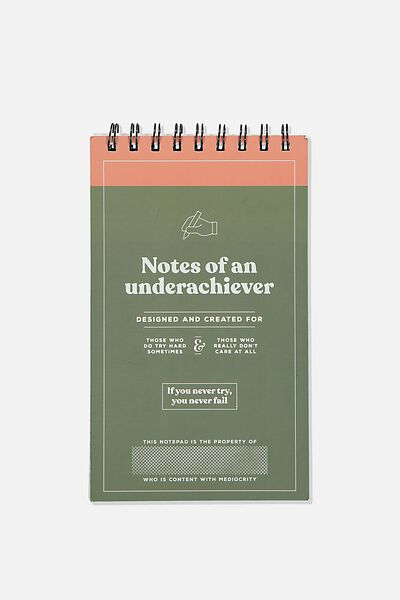 Flipout Notepad Recycled, UNDERACHEIVER GREEN