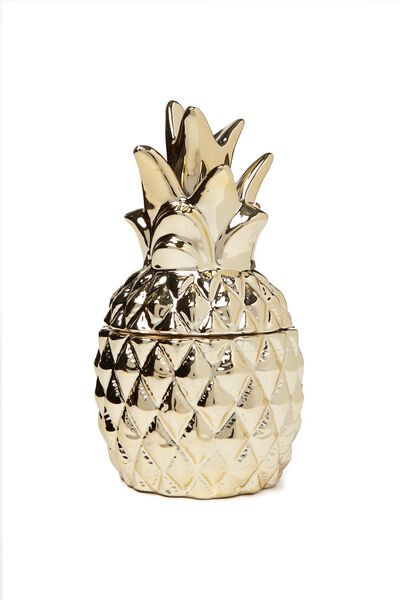 Large Ceramic Shaped Candle, GOLD PINEAPPLE
