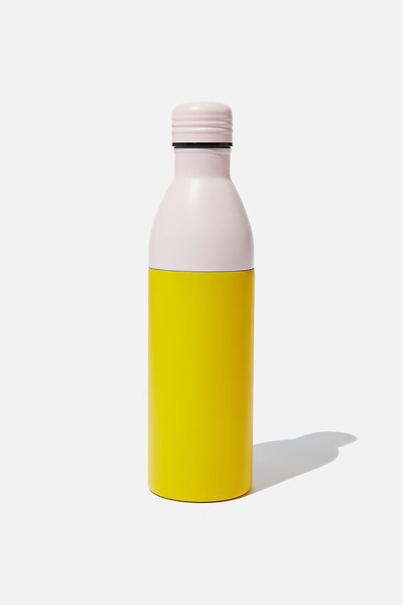 Two Piece Metal Drink Bottle, PINK/YELLOW