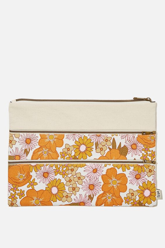 Keep It Together Pencil Case, ORANGE AND PINK STEVIE FLORAL