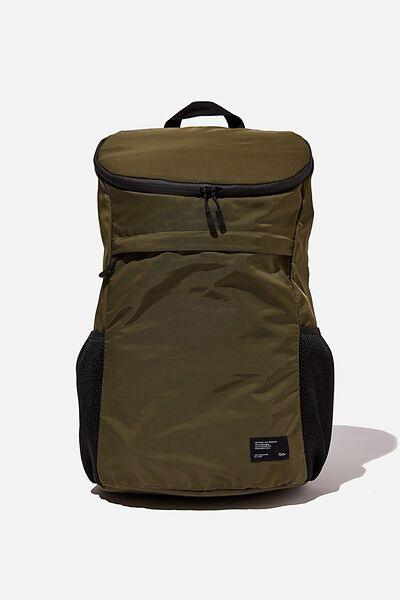 Utility Recycled Backpack, KHAKI AND PAPAYA