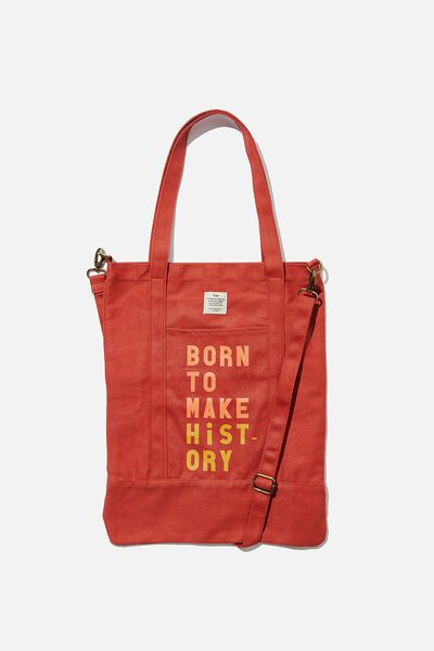 Book Tote Bag, WASHED RUST MAKES HISTORY