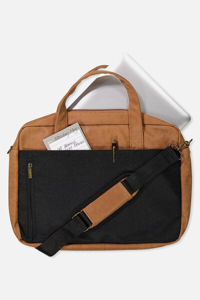 Take Charge Laptop Bag 15 Inch, BLACK & MID TAN