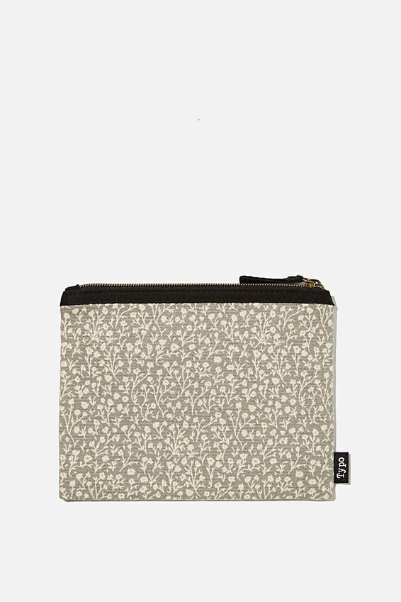 Spinout Pencil Case, COOL GREY MEADOW DITSY