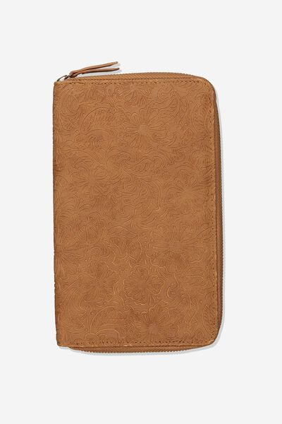 Rfid Odyssey Travel Compendium Wallet, WESTERN FLORAL TOOLED
