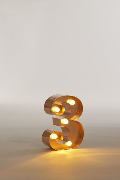 "Mini Marquee Letter Lights 3.9"", ROSE GOLD NUMBER 3"