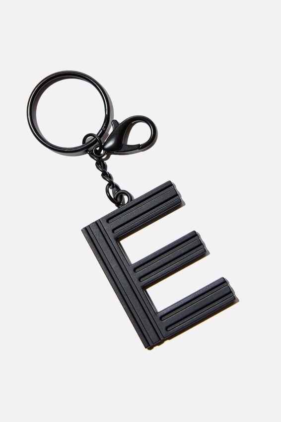Alphabet Keyring, MATTE BLACK GRID E