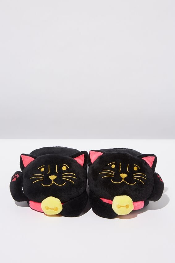 Novelty Slippers, BLACK LUCKY CAT