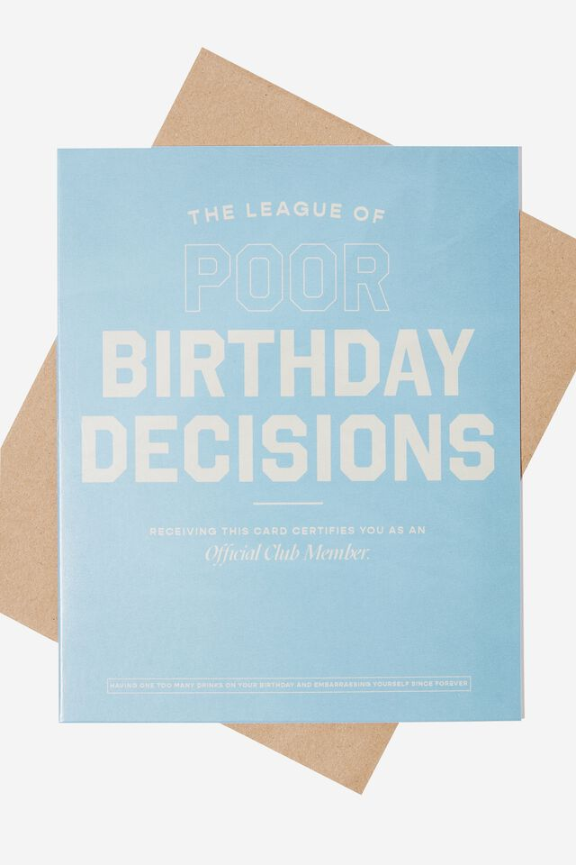 Funny Birthday Card, POOR BIRTHDAY DECISIONS LEAGUE
