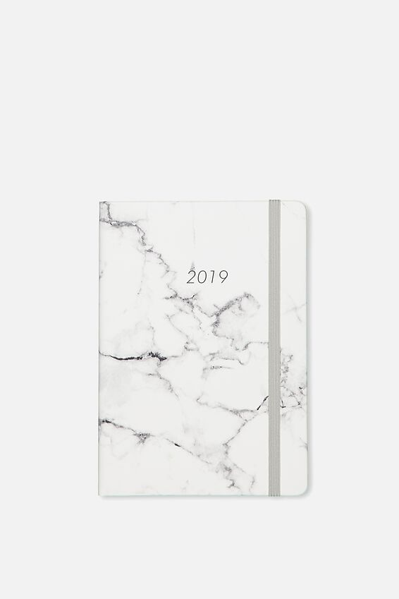 2019 A5 Medium Weekly Buffalo Planner, GREY MARBLE