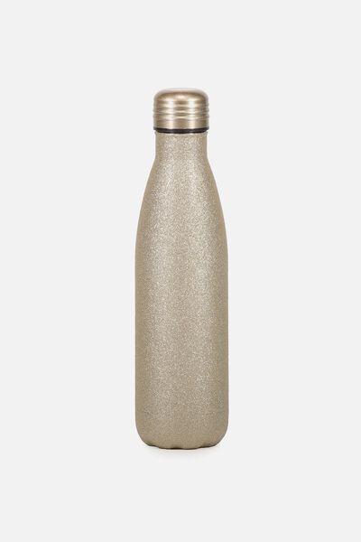 Metal Drink Bottle, GOLD GLITTER