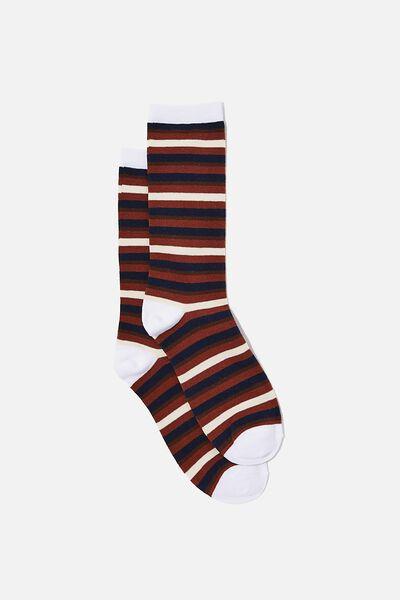 Socks, BROWN & BLUE STRIPES