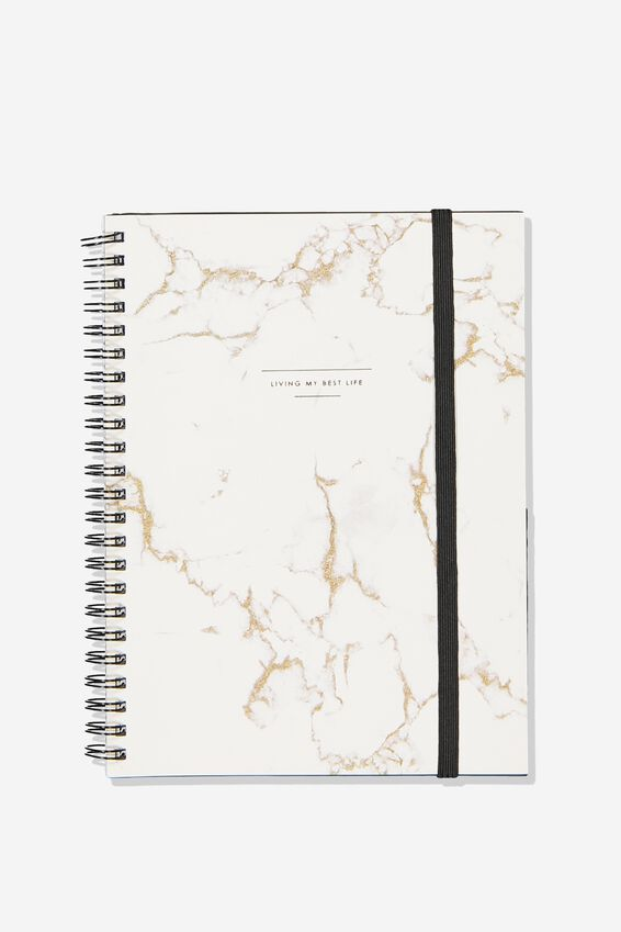 Small Spinout Notebook - V, MARBLE LIVING MY BEST LIFE