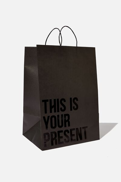 Get Stuffed Gift Bag - Large, THIS IS YOUR PRESENT BLACK WHITE