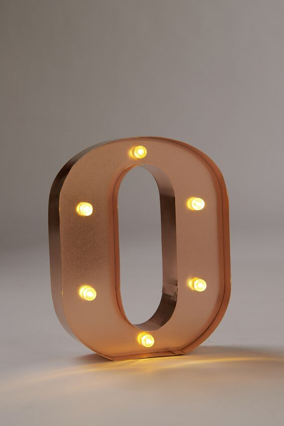 Marquee Letter Lights Premium 6.3inch Midi, ROSE GOLD O