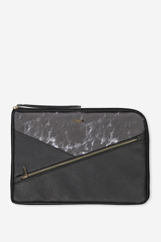 Premium Laptop Case 13 inch, BLACK MARBLE SPLICE