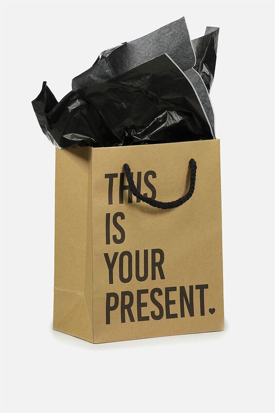 Small Gift Bag with Tissue Paper, KRAFT THIS IS YOUR PRESENT
