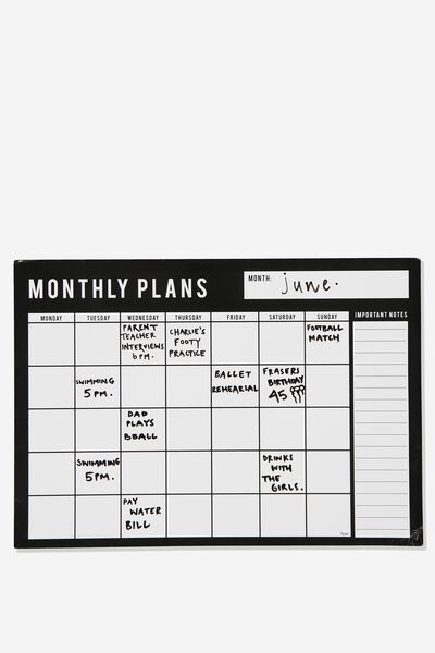 A3 Magnetic Monthly Planner, BLACK