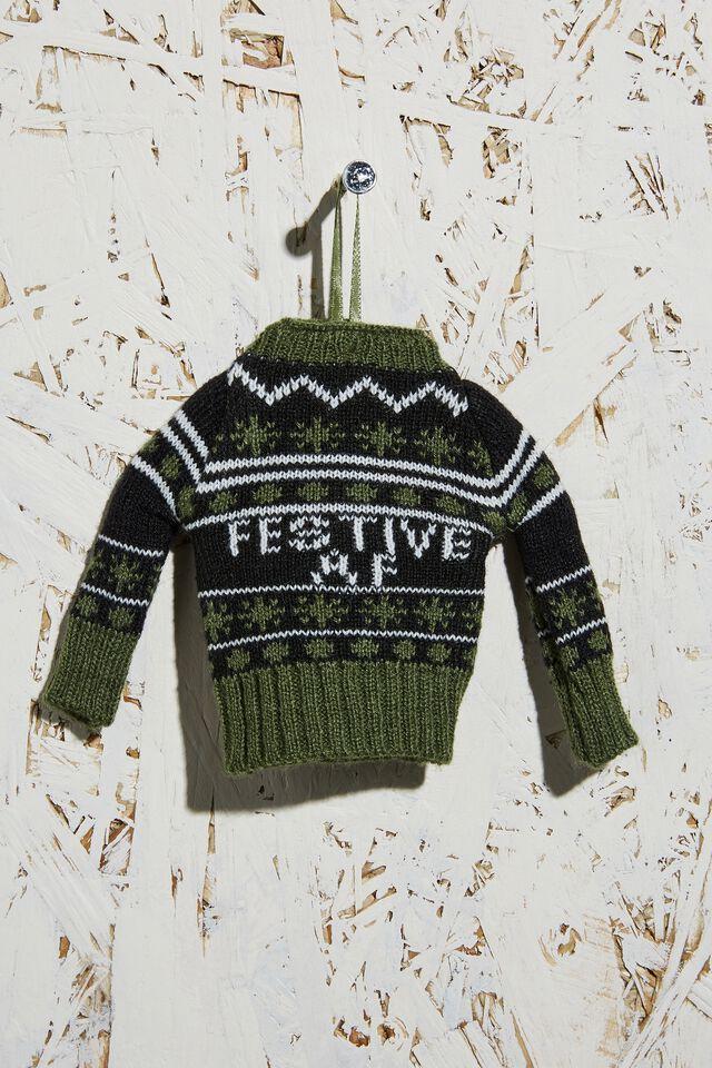 Knitted Christmas Ornament, FESTIVE AF JUMPER GREEN!