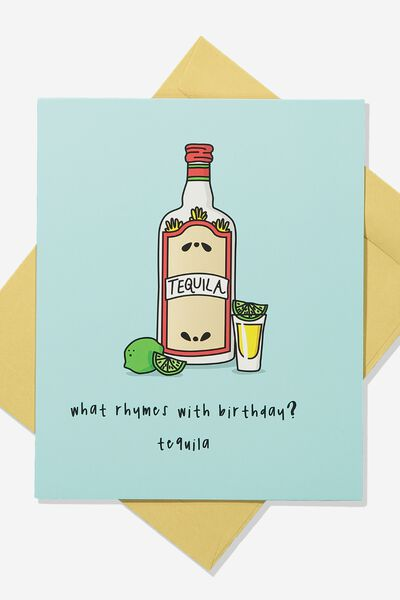 Premium Funny Birthday Card RHYMES WITH BIRTHDAY