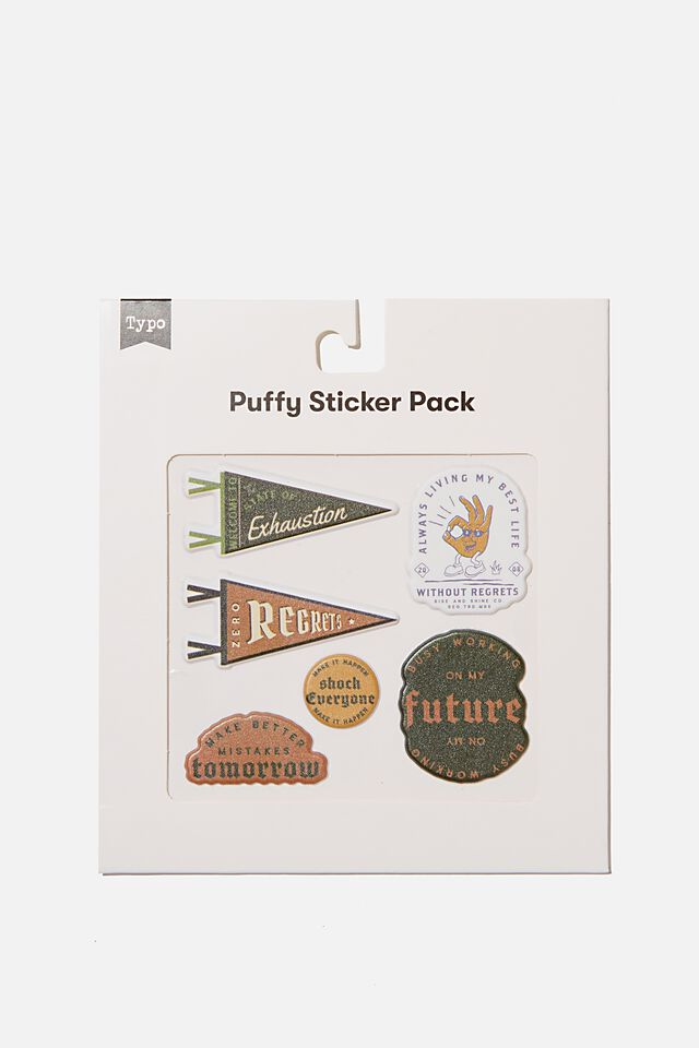 Puffy Sticker Pack, NO REGRETS
