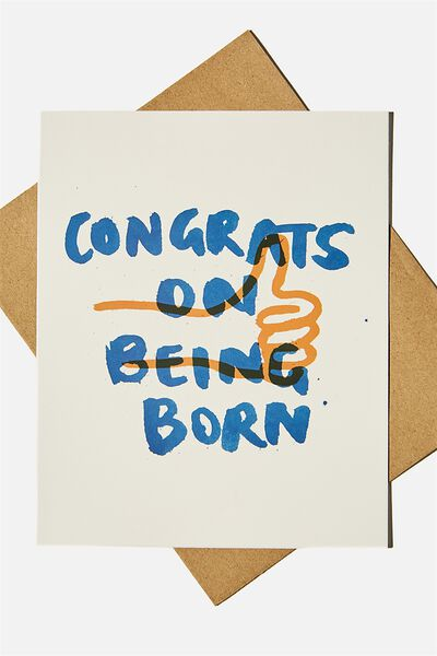 Nice Birthday Card, CONGRATS ON BEING BORN THUMBS UP