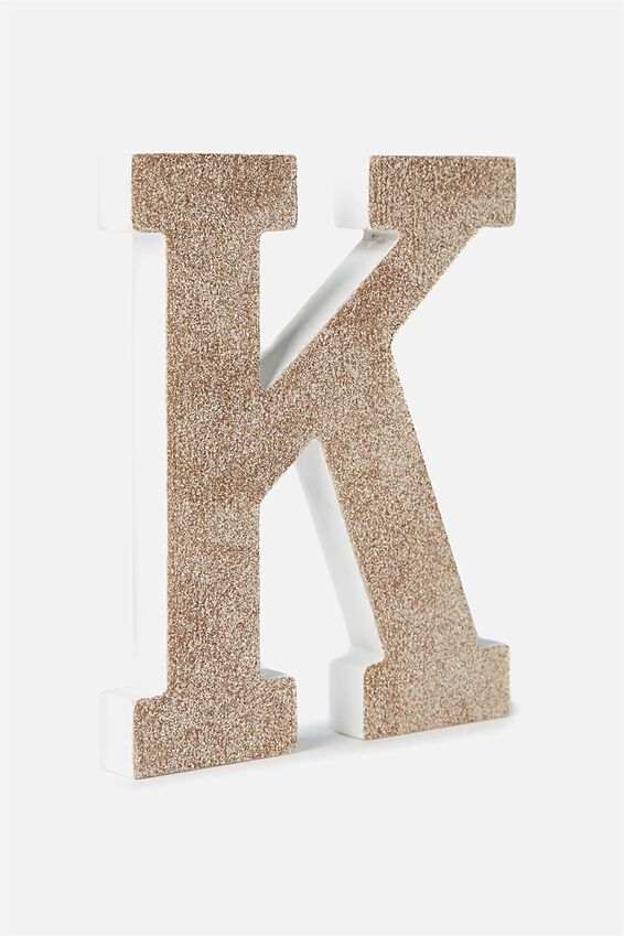 Glitter Letterpress Letter, PALE GOLD GLITTER K