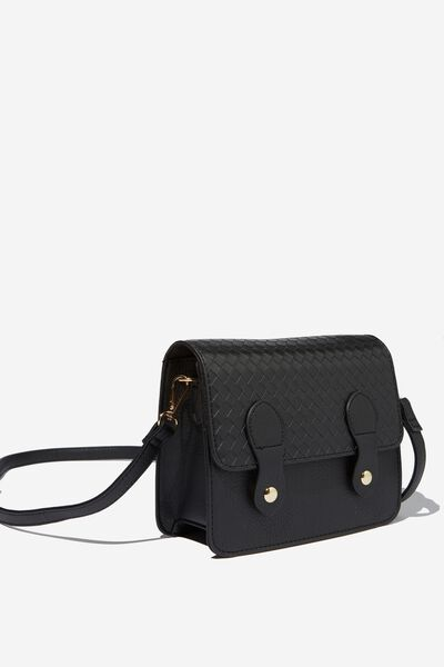 Mini Buffalo Satchel Bag, BLACK WEAVE