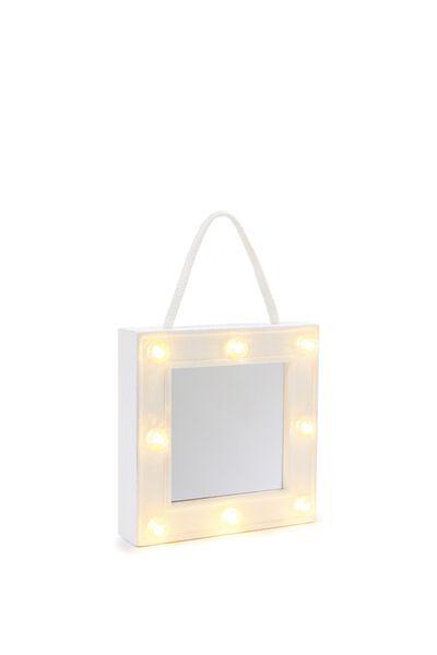 Mini Marquee Mirror, WHITE IRIDESCENT GLITTER