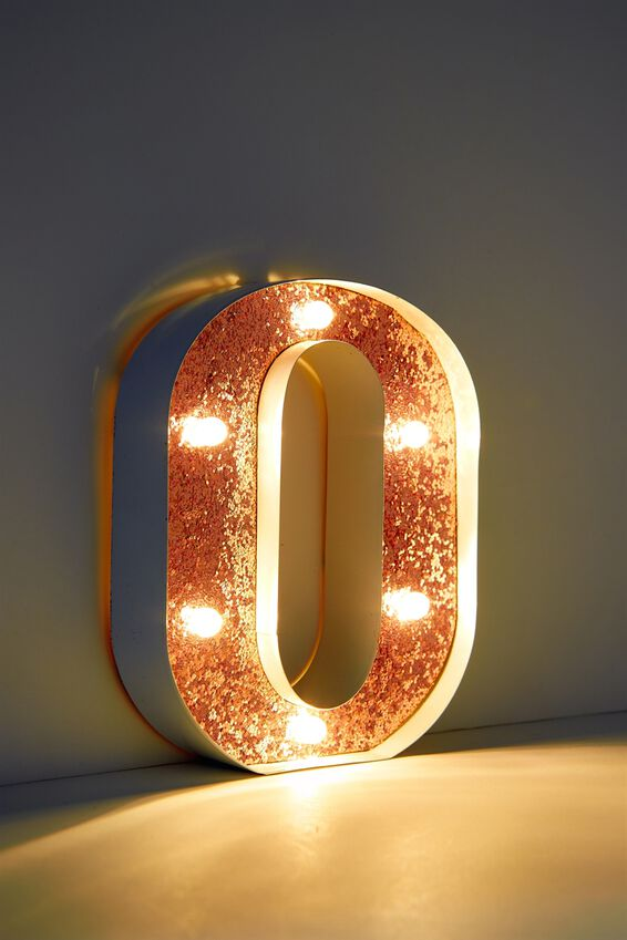 Marquee Letter Lights Premium 16cm Midi, WHITE WITH ROSE GOLD O