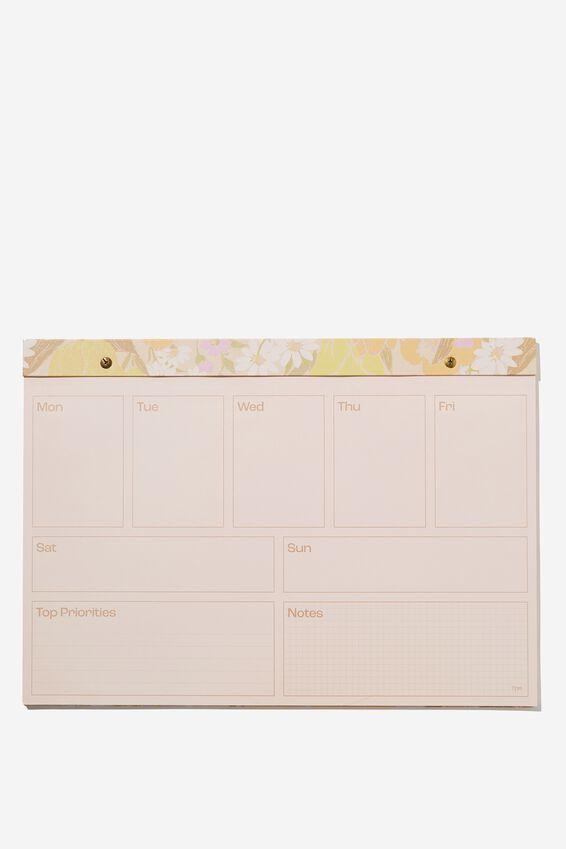 A3 Desk Planner, SAND GOLDIE FLORAL