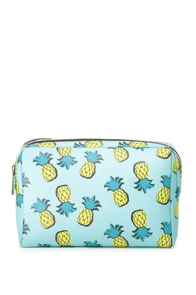 Dual Zipper Cosmetic Case, PINEAPPLES