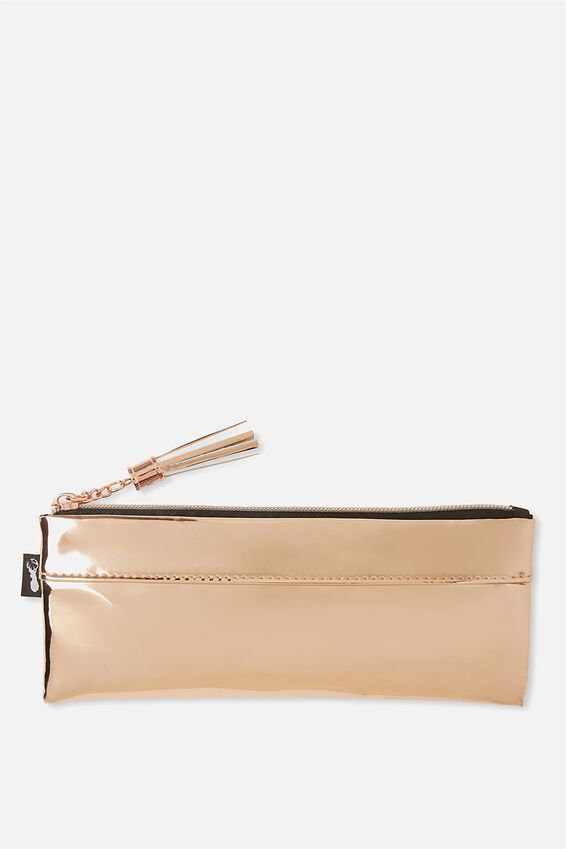 Fine Line Pencil Case, ROSE GOLD PATENT