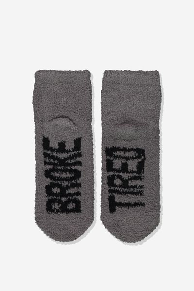 Slipper Sock, BROKE TIRED
