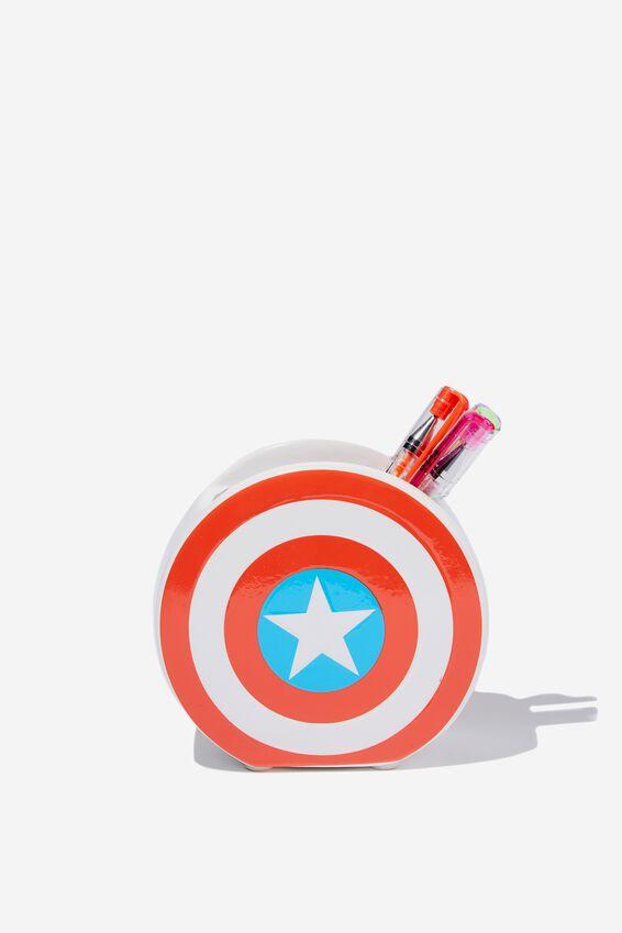 Licensed Pen Holder, LCN MAR CAPTAIN AMERICA SHIELD