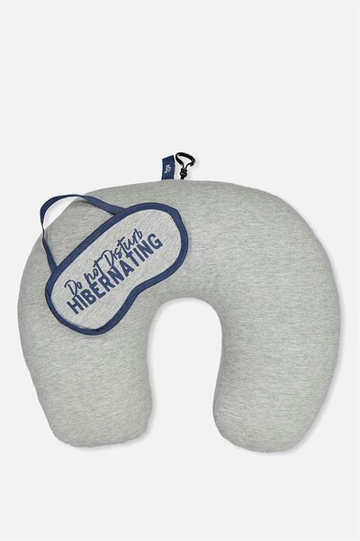 Neck Pillow & Eye Mask Set, GREY MARLE