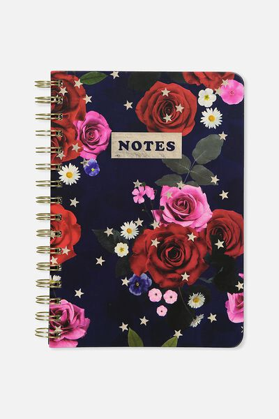 A5 Printed Spiral Notebook, NAVY BLUE FLORAL