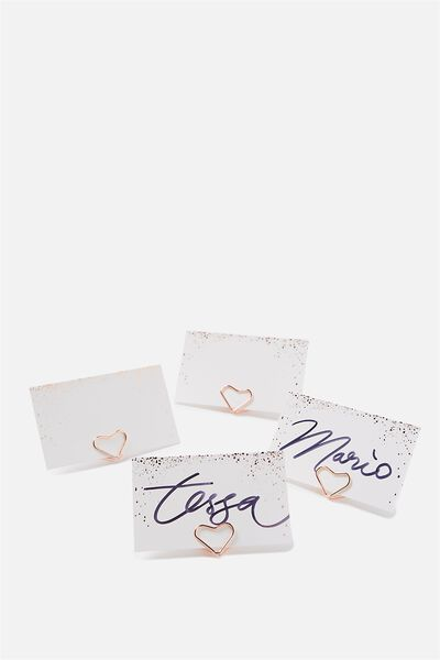 Name Cards And Wire Holders 10Pk, ROSE GOLD & WHITE