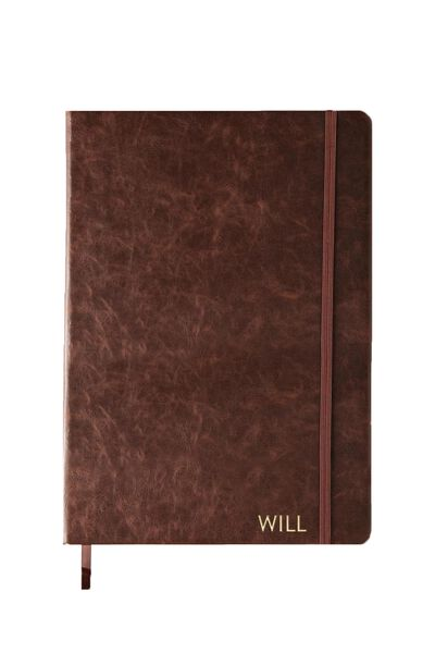 Personalised A4 Buffalo Journal, RICH TAN WITH GOLD FOILING