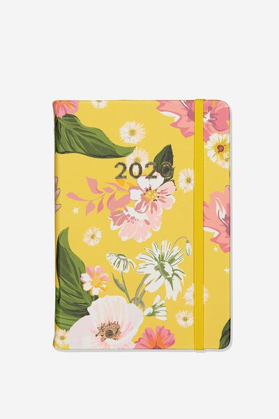 "2020 A5 Daily Buffalo Diary (8.27"" x 5.83""), YELLOW FLORAL"
