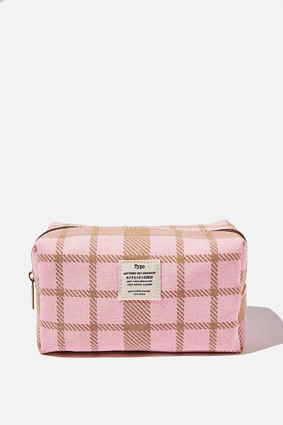 Brooklyn Pencil Case, RETRO CHECK PLASTIC PINK